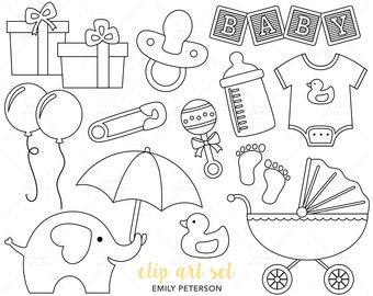 Baby Shower, Nursery, Baby Boy, Baby Girl - Cute Digital Stamps, Line Art  - Commercial Use, Instant Download | V3