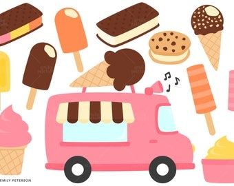 Ice Cream Truck, Summer, Ice Cream - Cute Clipart, Clip Art - Commercial Use, Instant Download