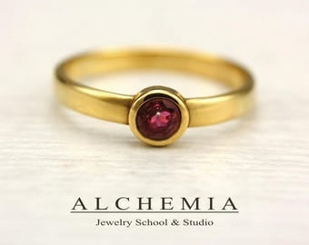 st REONY RED TOPAZ 4mm 14K Gold Ring Gemstone Statement Anniversary Wedding Engagement  Promise  AlchemiaSchoolStudio ruby