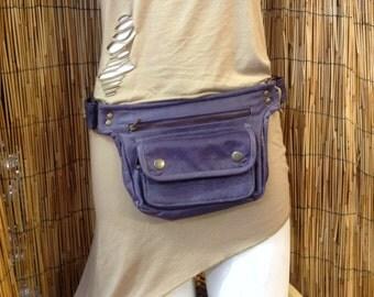 Fanny Pack hip shoulder Hip Bag Handbag travel bag of fur leather / purple / strap / hand made / Unisex