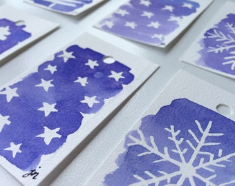 Hand-painted Christmas Gift Tags, original, snowflake, stable, pine trees, blue wash, stars, watercolour