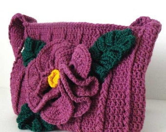 ReadyTo Ship. Handmade Crochet Handbag. Wonderful Crochet Red Violet Purse with a Delicate and Beautiful Crochet Flower.