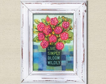 Printables, Printable Art, Wall Art, Live simply bloom wildly, pink flowers, inspirational quote