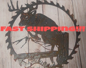 DoorWreath, Rustic Wall Decor, Unfinished Metal Signs, Sawblade Decor, Antler Decor, Sawblade Decor, Hunting Decor, Deer Hunting Buck,gift