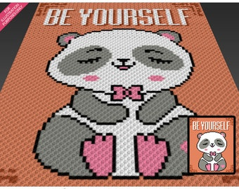 Be Yourself crochet blanket pattern; c2c, cross stitch; graph; pdf download; no written counts or row-by-row instructions