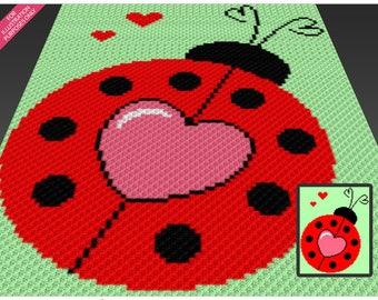 Lovely Ladybug crochet blanket pattern; c2c, knitting, cross stitch graph; pdf download; no written counts or row-by-row instructions