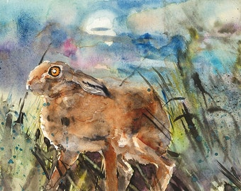 Hare/Moonstruck/Watercolour Hare