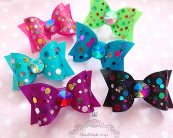 """Confetti 7/8"""" Hard show dog bows Dog's Grooming Pet Bows, teacup dog bows, Wholesale Cheap Dog Grooming Bows, Maltese Yourkie Shih tzu bows"""