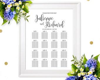Wedding Seating Chart Poster-Printable Welcome Wedding Seating Chart Board-Rehearsal Dinner Seating Chart Sign- Find your Seat Wedding Sign