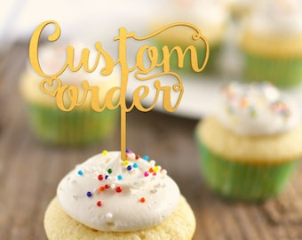 Custom Cupcake topper - wedding cupcake decorations  -  personalized cupcake toppers