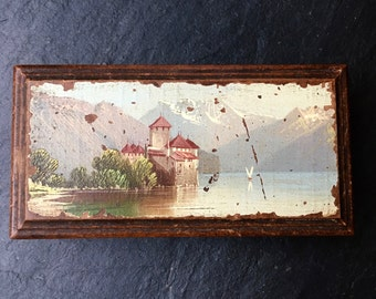 Vintage Wooden Box. italian box. Vintage box. Italian Medieval Castle beside a tranquil lake. Jewellery box.