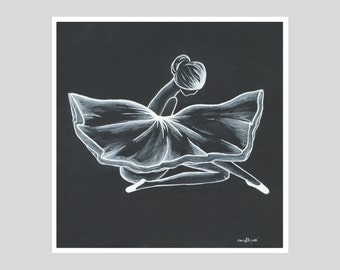 Ballerina Number 1 - Black and White Print - Giclee Fine Art Print - Wall Art - Wall Decor - Home Decor - Limited Edition Print