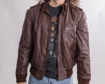 Vintage 80s Brown Leather Bomber Jacket