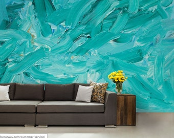 3D ABSTRACT MURAL, abstract wall mural, color wall mural, painting mural, teal wallpaper, teal wall mural, abstract wallpaper, abstrac