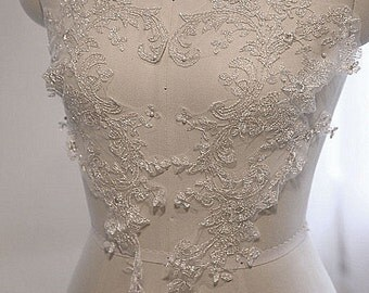 Silver Embroidery Lace Fabric, Floral material, Wedding Dress Evening Gown Lace trim, flower Applique lace