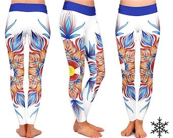 LEGGINGS - Colorado Mandala Yoga Leggings -  Yoga Pants sport mandala Yoga stretch capri leggings fitness workout Yoga Colorado Leggings
