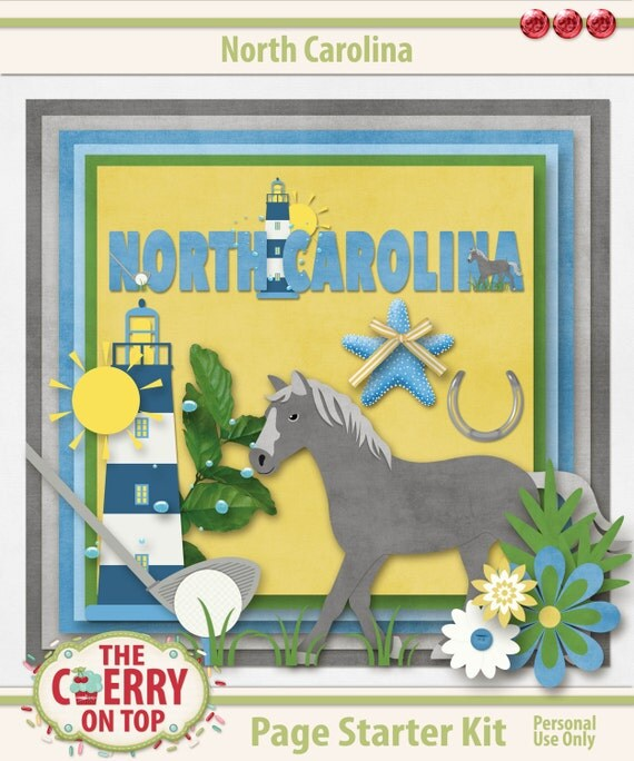 North Carolina Digital Scrapbooking Page Starter Kit