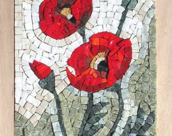 "Mosaic kit DIY Wildflowers: Poppies 12.5""x9"" - Anniversary gifts - Stained glass mosaic wall art - Red Poppy art - Mosaic tiles craft"