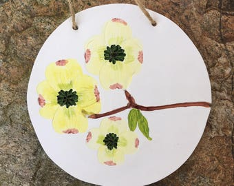 Dogwood flower wall art, spring flower mural, floral wall ornament, mothers day flower gift