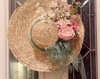 Free Shipping! Shabby Chic Spring Hat Wreath
