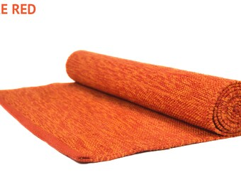 Red Cotton Yoga Mat Eco-friendly - Handwoven - Meditation Mat - Organic Cotton - Exercise Mat especially for Hot Yoga