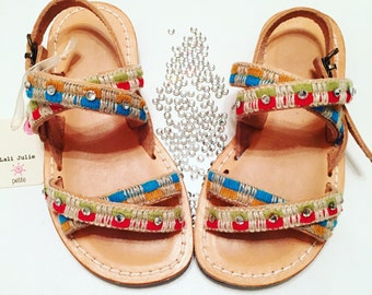 Gipsy sandals in pure leather with swarovski