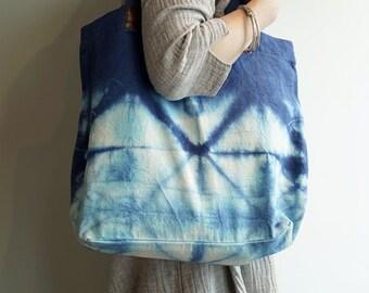 Indigo Shibori Tote Bag,Indigo,Every Day Bag,Women Bag,Hand Bag