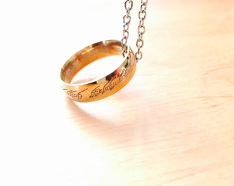 The One Ring Lord of the Rings Hobbit lord of rings Bilbo ring carrier silver necklace ring Elvish Frodo Elben Font Tolkin