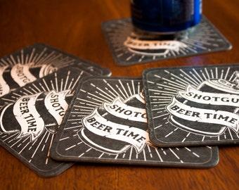 Beer Coasters - Beer Coaster Set - Beer Gifts - Beverage Coasters - Beverage Coaster Set - Coaster Set - Bar Coasters - Coasters - Shotgun