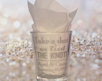 Personalized Wedding Shot Glasses - 24 Pieces - Custom Wedding Favors - New Wedding Favor Ideas Take a shot We tied the knot!