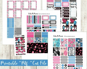 Mini Me Printable Planner Stickers//Weekly Kit/For Use with Erin Condren/Cutfile/Fall September Mother Glam Glitter Fashion