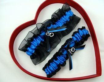 Wedding Garters New Royal Blue Black White Wedding Garter Prom