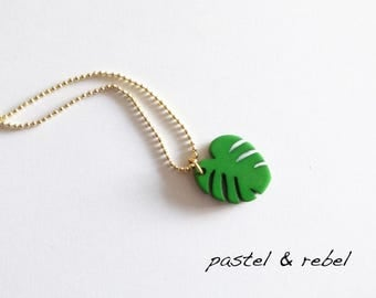 monstera, necklace with a sweet Philodindron leaf