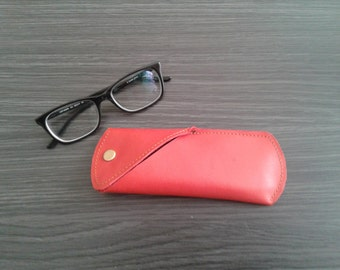 Red leather case for glasses and sunglasses, handmade, unisex, nice gift