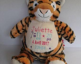 Plush / Doggie birth custom Tiger stuffie. birth gift. personalized gift. baby shower