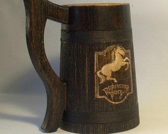 The Prancing Pony Personalized wooden Beer Mug 0.7 l (23oz) natural wood wedding gift beer tankard stein Wooden mug Jug Gift for Men Stein