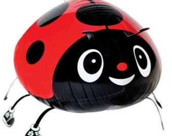 RED LADYBUG Lady Bug Walking Pet Animal Own your pet Balloon Air Filled Balloons Birthday Party Girl Birthday Party Cricket Bug Water Fish