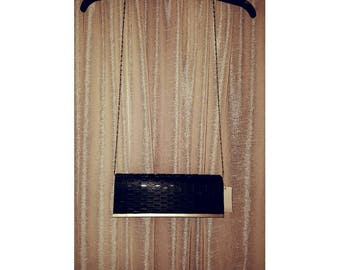 Black Evening Clutch With Silver Chain
