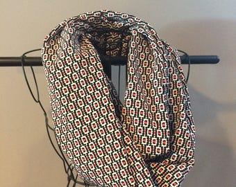 Black and bright coral infinity scarf
