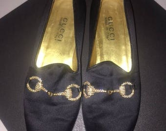 Vintage Gucci crystal loafers