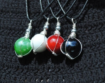 Wire-Wrapped Glass Pendants