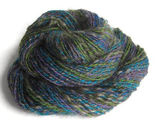 Kid Mohair and Wool Hand Spun Yarn, Sport Weight, Dark Gray with Electric Blue, Teal, Lime Green, and Purple
