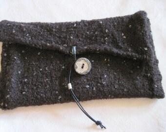 Midnight Blue knit clutch + felt bag wool Lurex metal filigree button ornament border