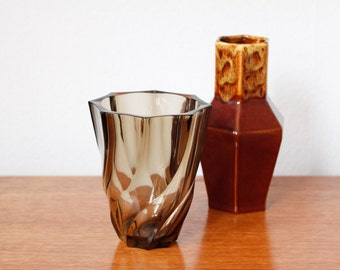 Luminarc France smoked brown glass vase vintage
