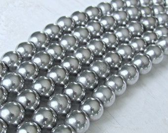 10mm silver Hematite, magnetic hematite, full strand, silver plated, 10mm round beads, jewelry supplies, mala beads, Jewelry supplies