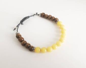 Bracelet ajustable avec billes en pierre de Jade jaune et billes de bois