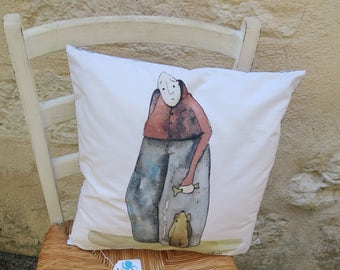 Nice cushion printed from original drawing with watercolor