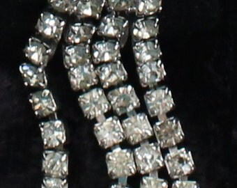 SO # 1072 Vintage Silver Tone Two Strand Crystal Rhinestone Dangle Clip On Earrings with Round Cut Top Rhinestone