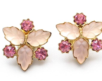 Vintage Gold Tone Lucite Pink Leaf Thermoset and Pink Crystal Rhinestone Clip On Earrings