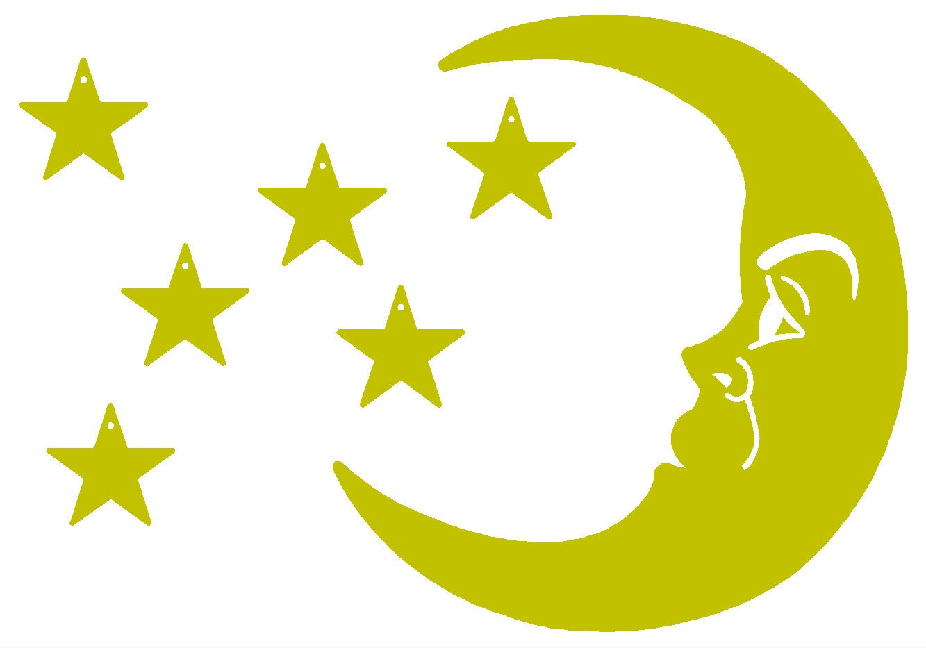 Nursery Moon Metal Wall Decor - Moon with 6 Stars ...